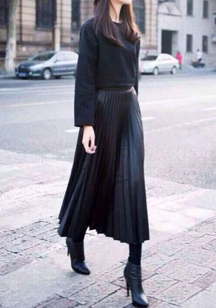 black skirt and sweater outfit