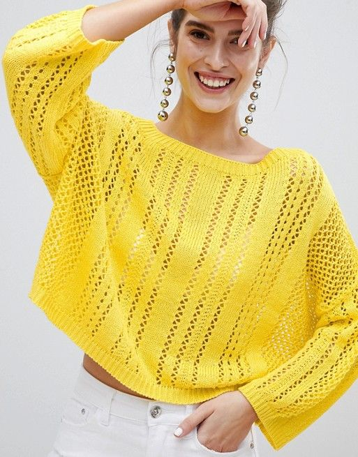 yellow Loose Knit Sweater