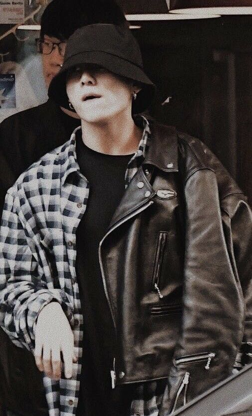 Jungkook leather jacket and flannel